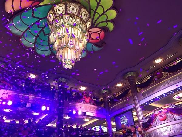 the Disney Fantasy atrium chandelier with confetti