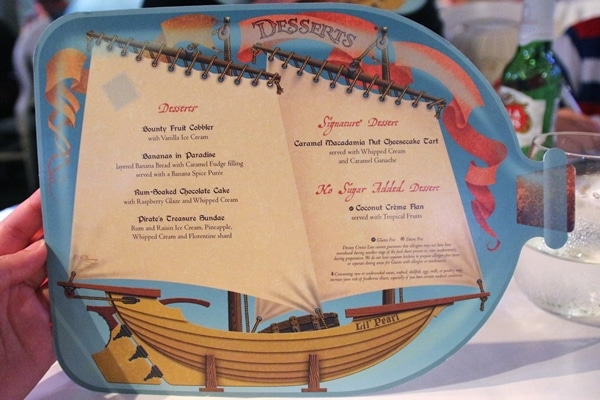 Disney Fantasy pirate night dessert menu