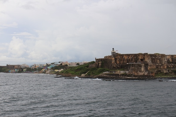 the shore of San Juan viewed from the water