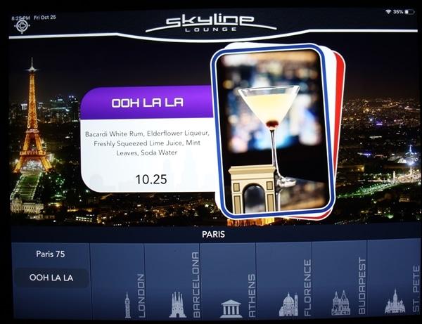 Photo of the Skyline Lounge electronic menu showing the Ooh La La cocktail