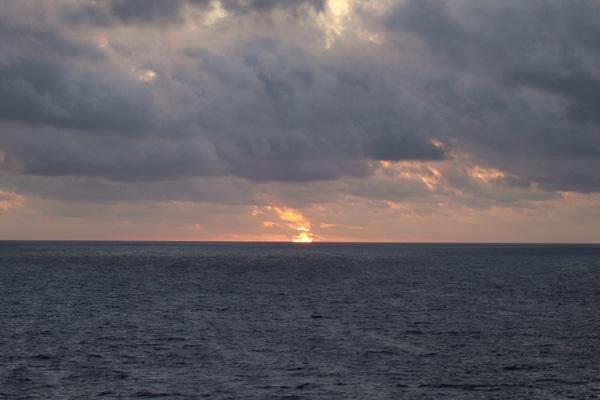 The sunrise over the Caribbean sea