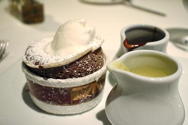 chocolate souffle with scoop of vanilla ice cream