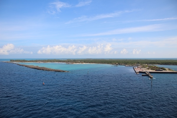 view of Castaway Cay from the Disney Fantasy cruise ship