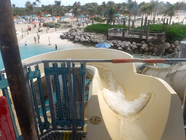 view from the top of the water slide at Castaway Cay in the Bahamas