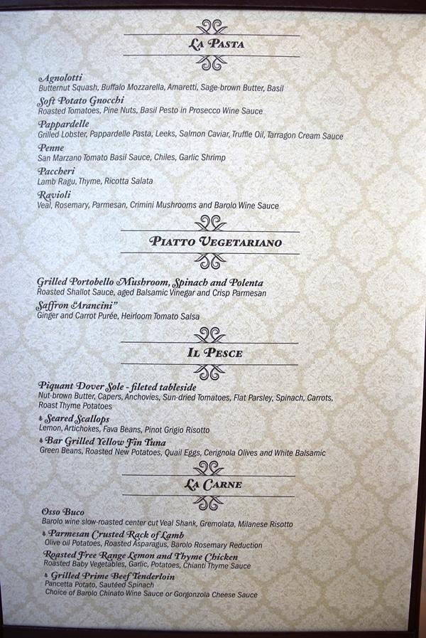 dinner menu at Palo