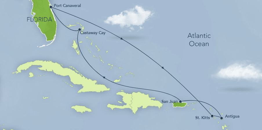 map of cruise itinerary