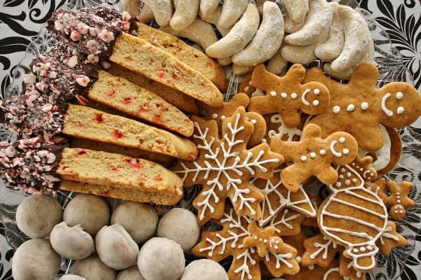 a variety of Christmas cookies on a large platter