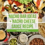 a plate of nachos with cheese sauce, guacamole, beans, pickled jalapenos and salsa