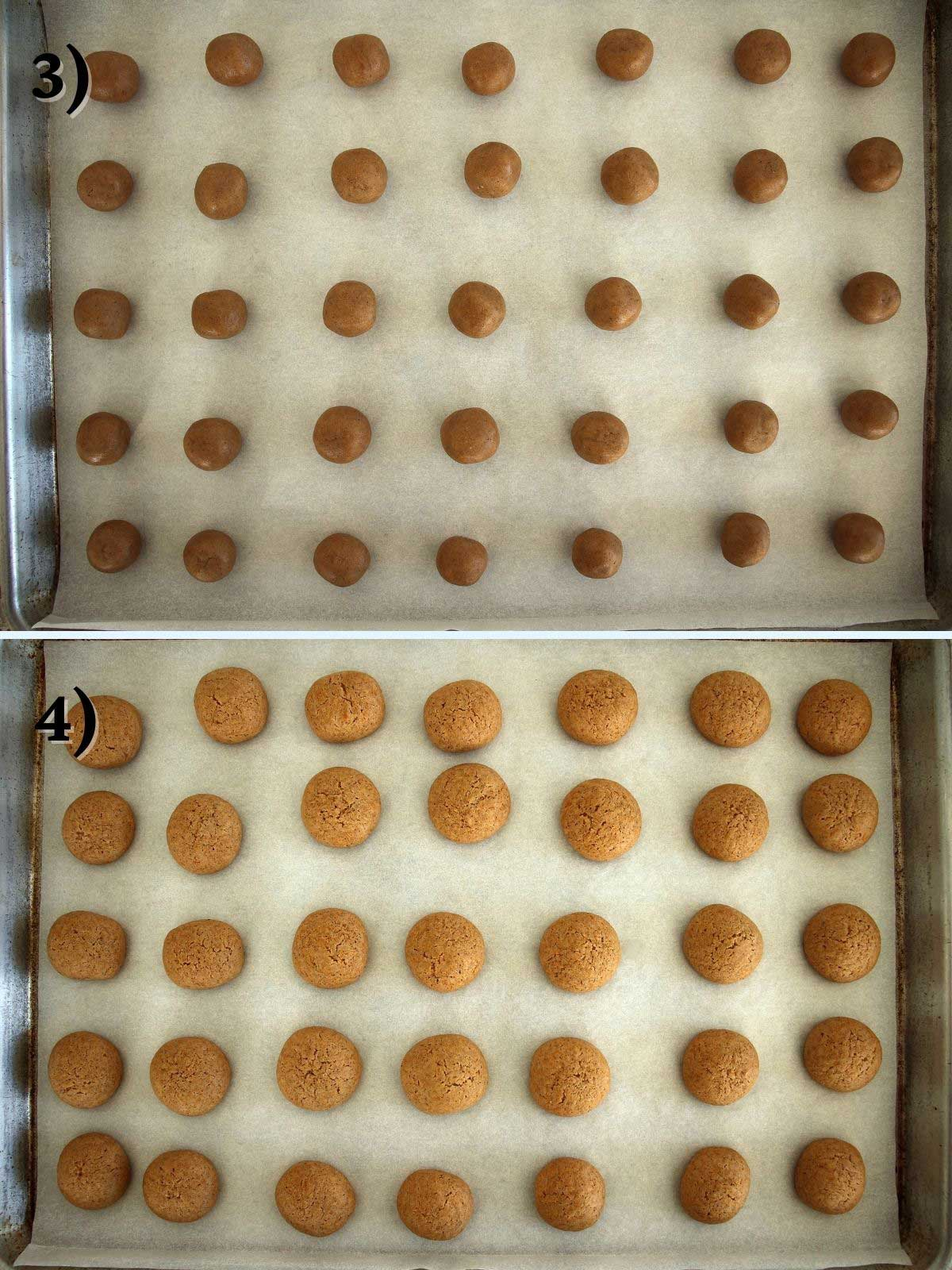 A baking sheet of German spice cookies before and after baking.
