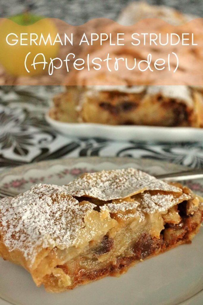 Slice of German apple strudel