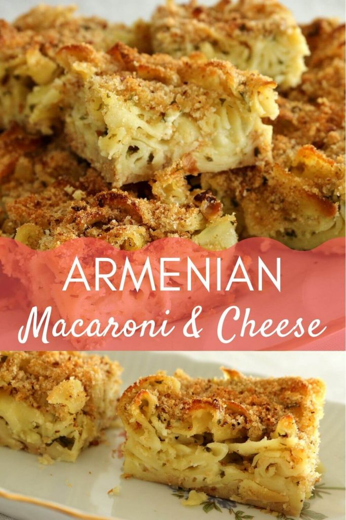 Armenian macaroni and cheese piled on a platter