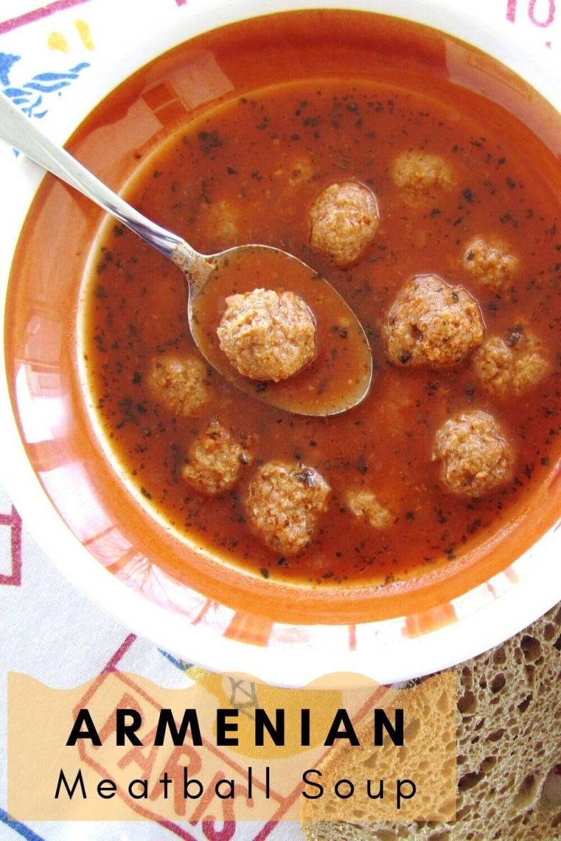 Bowl of Armenian meatball soup (kofta soup)