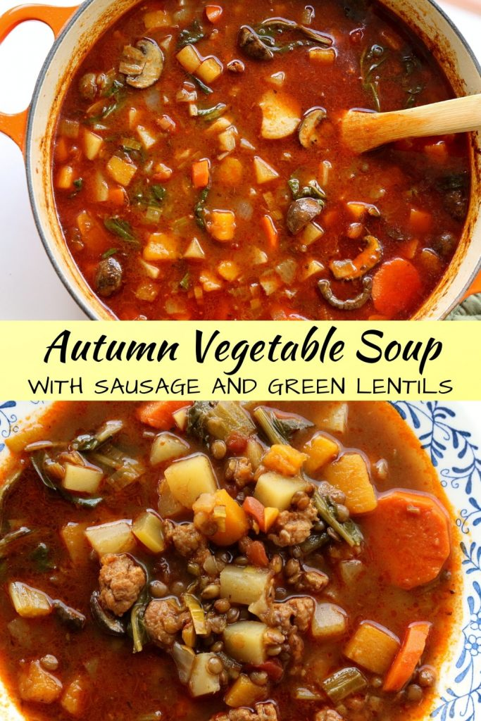 Photo collage with pot of autumn vegetable soup at the top, and bowl of soup at the bottom
