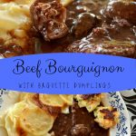 slow cooked beef bourguignon in a shallow bowl with potato gratin and baguette dumplings on the side