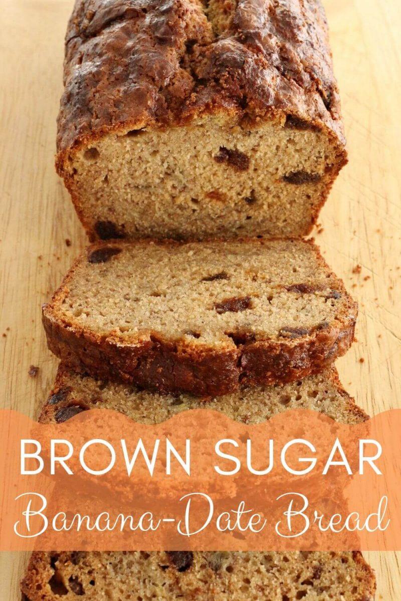 Brown sugar banana date bread sliced on a cutting board