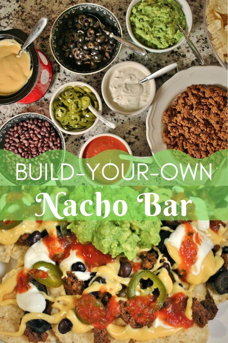 Nacho Bar with Taco Meat, Nacho Cheese Sauce, Guacamole, Salsa, Olives, Beans, Pickled Jalapenos, Sour Cream, and Tortilla Chips