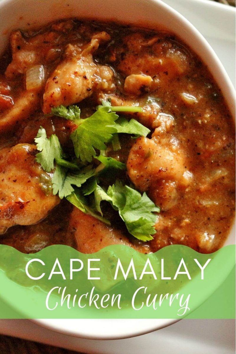 Bowl of South African Cape Malay chicken curry