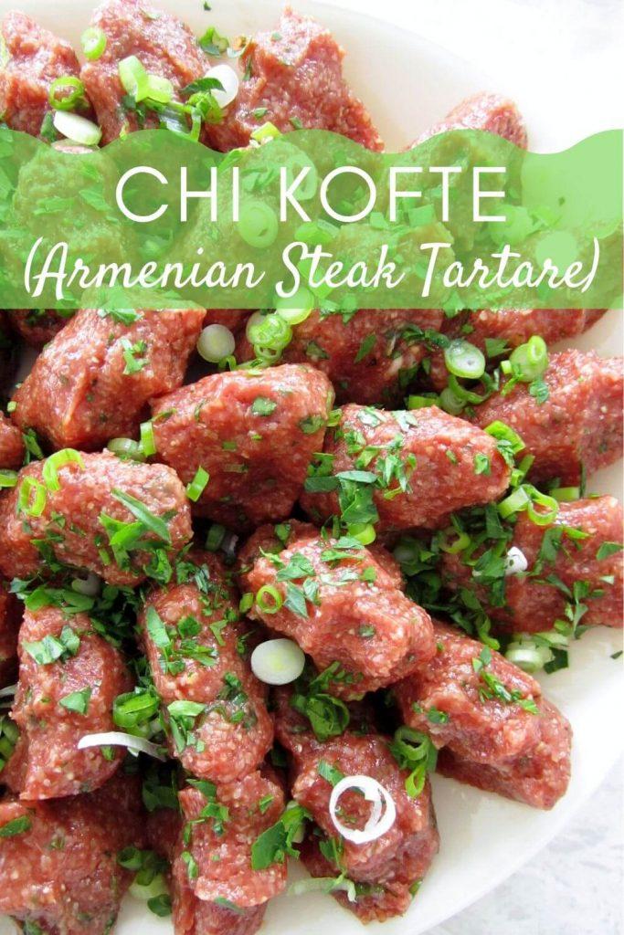 A platter of chi kofte (Armenian steak tartare)