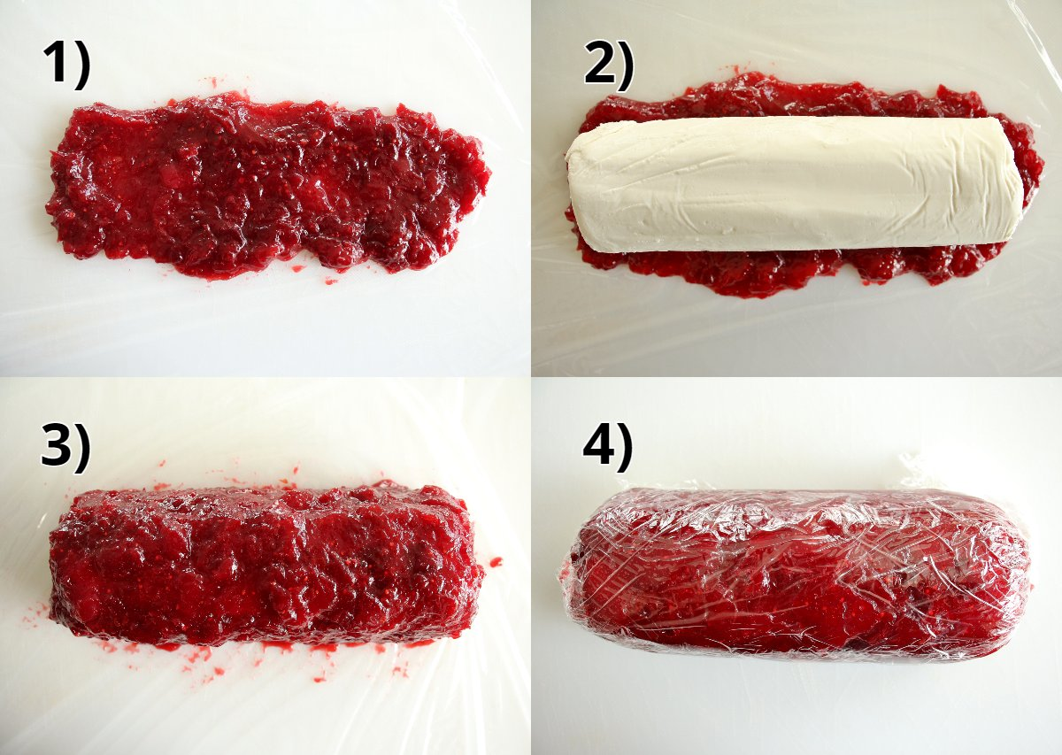 Step by step photos of assembling the Cranberry Cinnamon Goat Cheese.