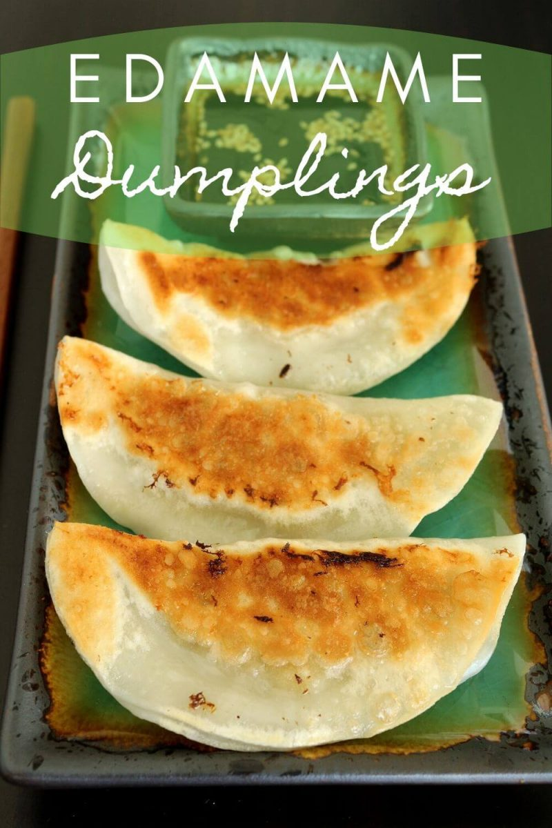 3 pan-fried edamame dumplings served with dipping sauce