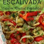 closeup of Catalan roasted vegetables in a decorative square dish
