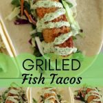 grilled fish tacos with citrus slaw and cilantro-lime mayo on flour tortillas