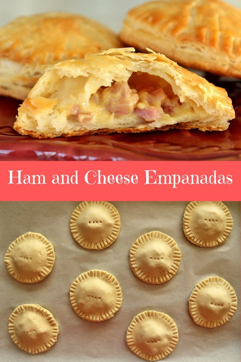 Ham and cheese empanadas before and after baking