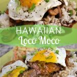 A photo collage of a loco moco plate with macaroni salad