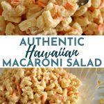 hawaiian macaroni salad made with elbow macaroni in a glass bowl