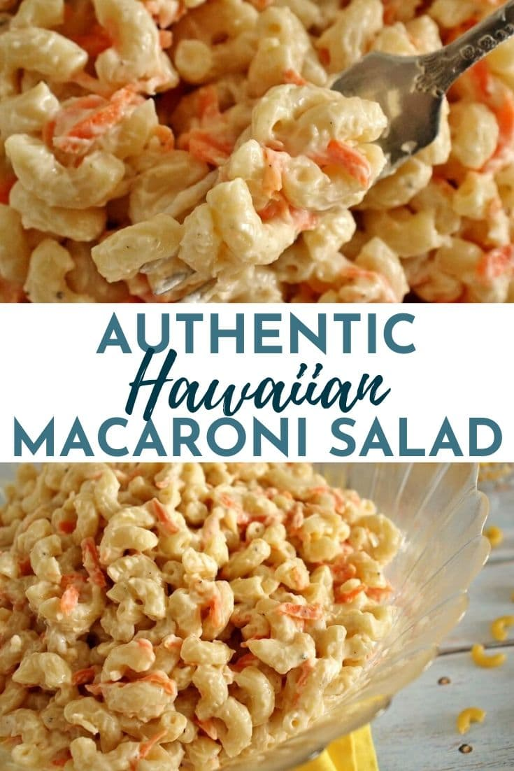 hawaiian macaroni salad made with elbow macaroni in a glass bowl