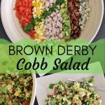 Photo collage of Hollywood Brown Derby Cobb Salad before and after tossing