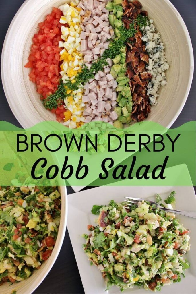 Photo collage: Top photo is composed Hollywood Brown Derby Salad with vertical rows of colorful ingredients. Bottom photo is salad tossed and served on a square plate.