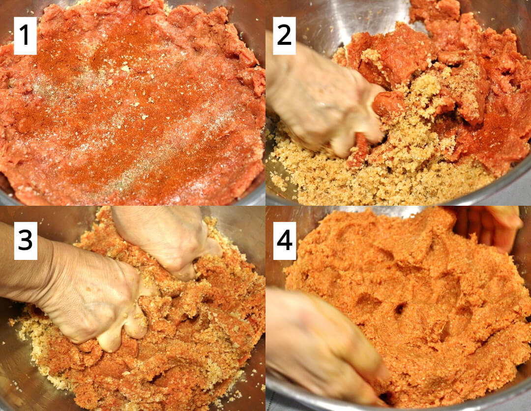 Step by step photos showing how to mix ground beef with bulgur for ishli kofte