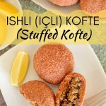 overhead view of ishli koftes (kibbeh) on a white plate with lemon wedges