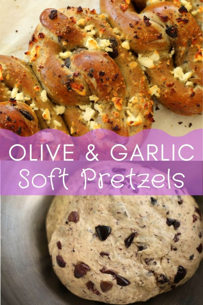 Olive and garlic soft pretzels with feta cheese