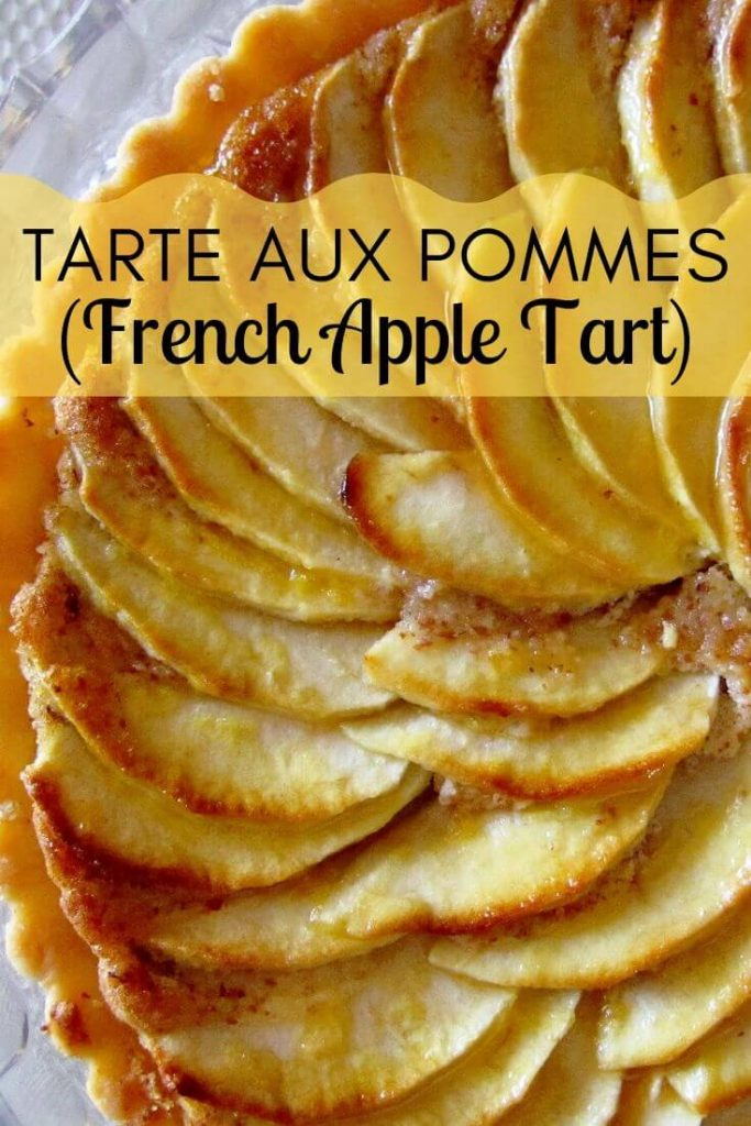 overhead closeup of a French apple tart apple slices arranged in a spiral on top