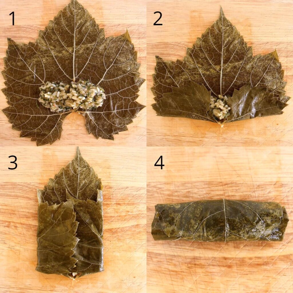 Step by step images of assembling stuffed grape leaves, showing how to fill and roll them up