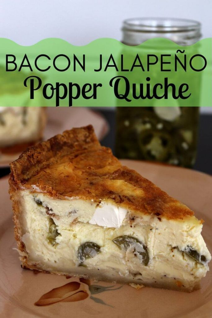 Bacon Jalapeño Popper Quiche on an antique plate with a jar of pickled jalapenos in the background