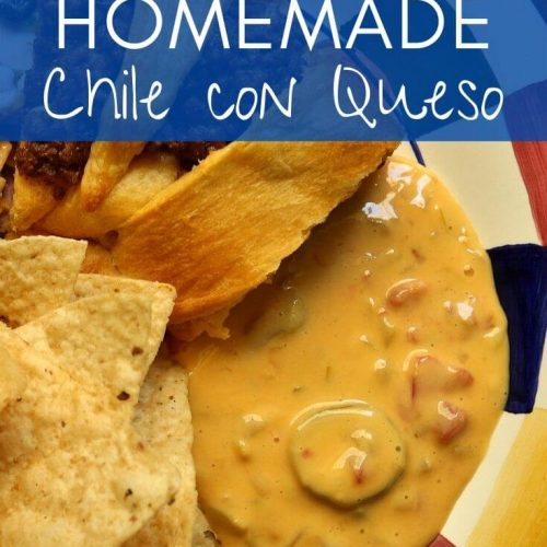 Homemade chile con queso on a colorful plate with tortilla chips