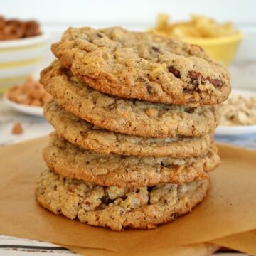 stack of cookies on a piece of parchment paper