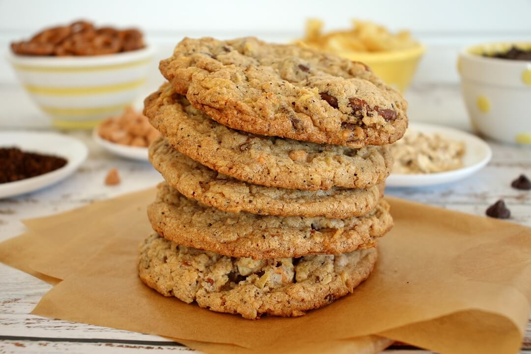 side view of a stack of baked compost cookies