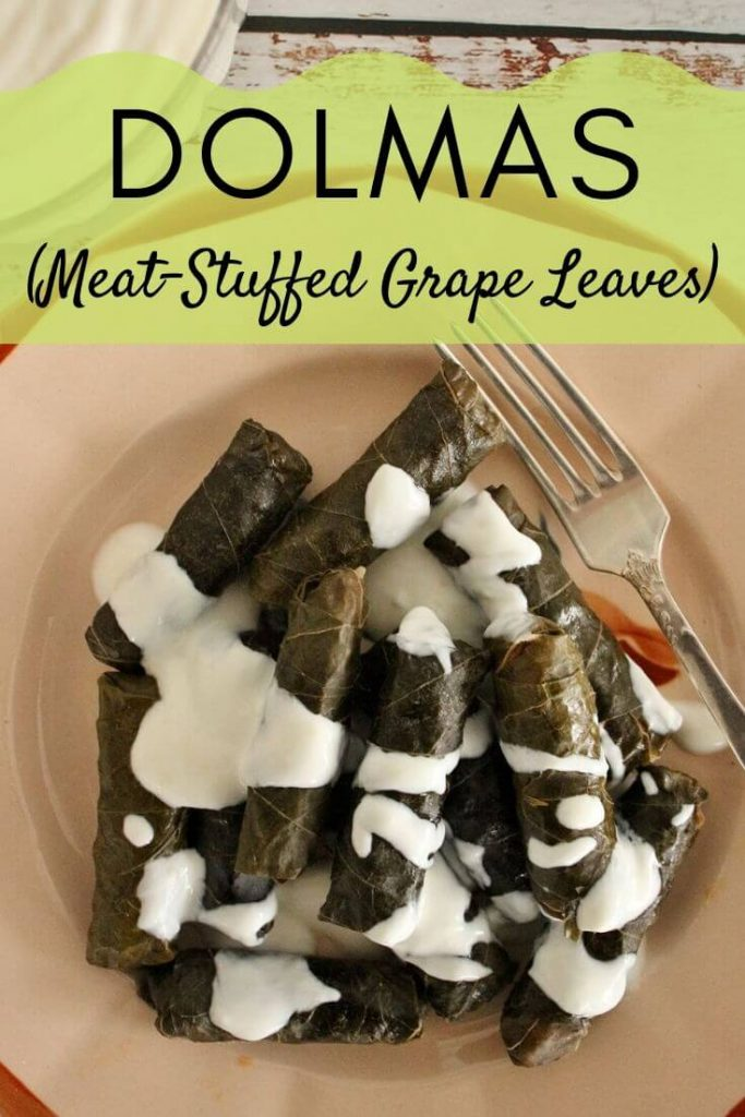 Dolma (meat-stuffed grape leaves) drizzled with yogurt and garlic sauce on an antique pink plate