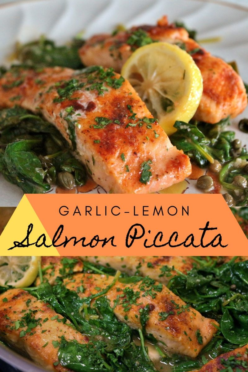 Salmon piccata with lemon slices, wilted spinach, and capers