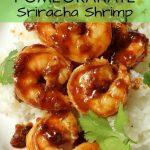 sticky shrimp in pomegranate sriracha sauce served with rice