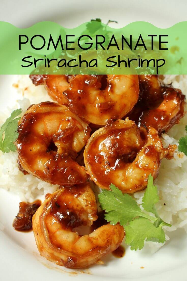 sticky shrimp in pomegranate sriracha sauce served with rice
