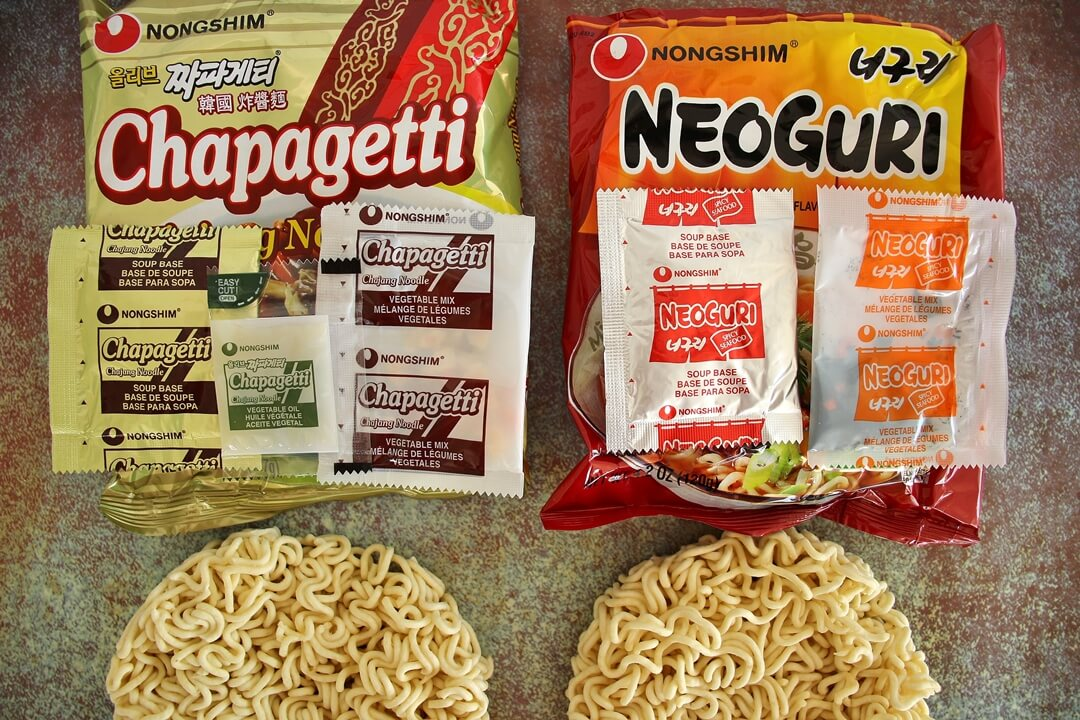 Packages of Korean instant noodles (Chapagetti and Neoguri)