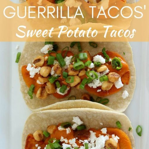 Guerrilla Tacos' sweet potato tacos with almond salsa, crumbed feta cheese, corn nuts, and scallions