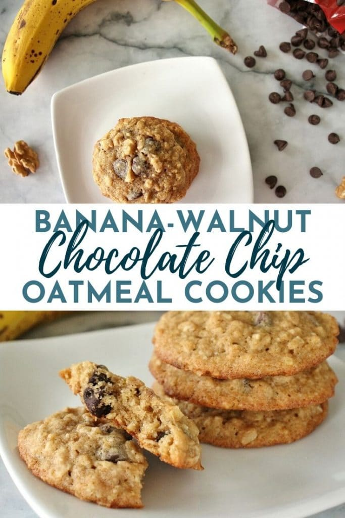 A stack of banana oatmeal chocolate chip cookies on a white square plate with a banana and chocolate chips scattered around