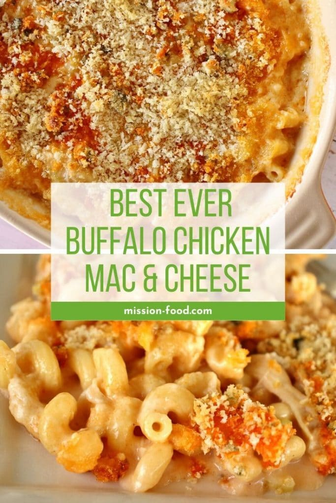 Baked buffalo chicken macaroni and cheese in an oval casserole, and served on a plate
