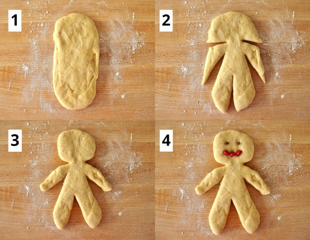 Collage of photos showing how to assemble a person shape out of chorek dough, showing to cut legs, arms, and a neck, and then add whole cloves for eyes and red m&ms for a mouth